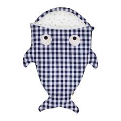 Baby Bites Śpiworek light Shark (1-18 m) Blue Vichy