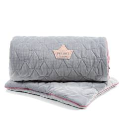 Velvet Collection Set Blanket &Mid Pillow Dark Grey Pink La Millou